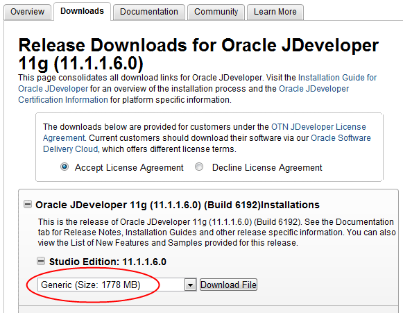 Oracle JDeveloper 11.1.1.6 Generic - Download