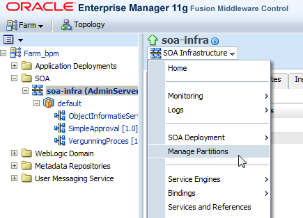SOA Suite EM Manage Partitions