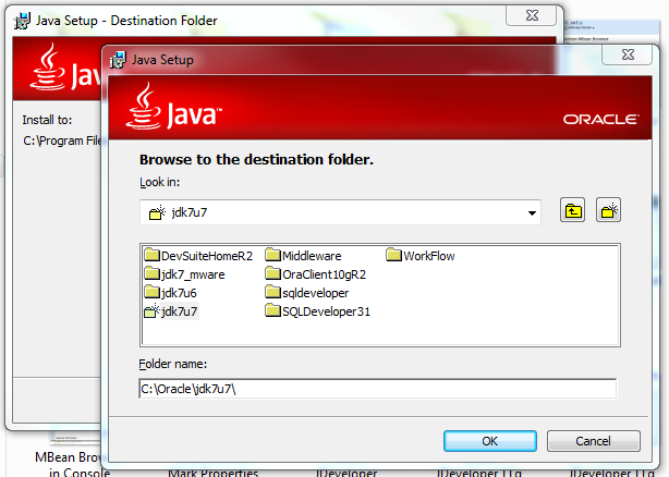 Install JDK 7 Update 7 (64-bit) - choose directory